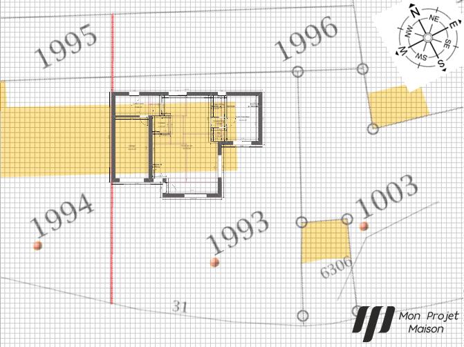 Maison 132m² + Terrain 560m² à Basse-Goulaine - Implantation sur la Parcelle avec Orientation