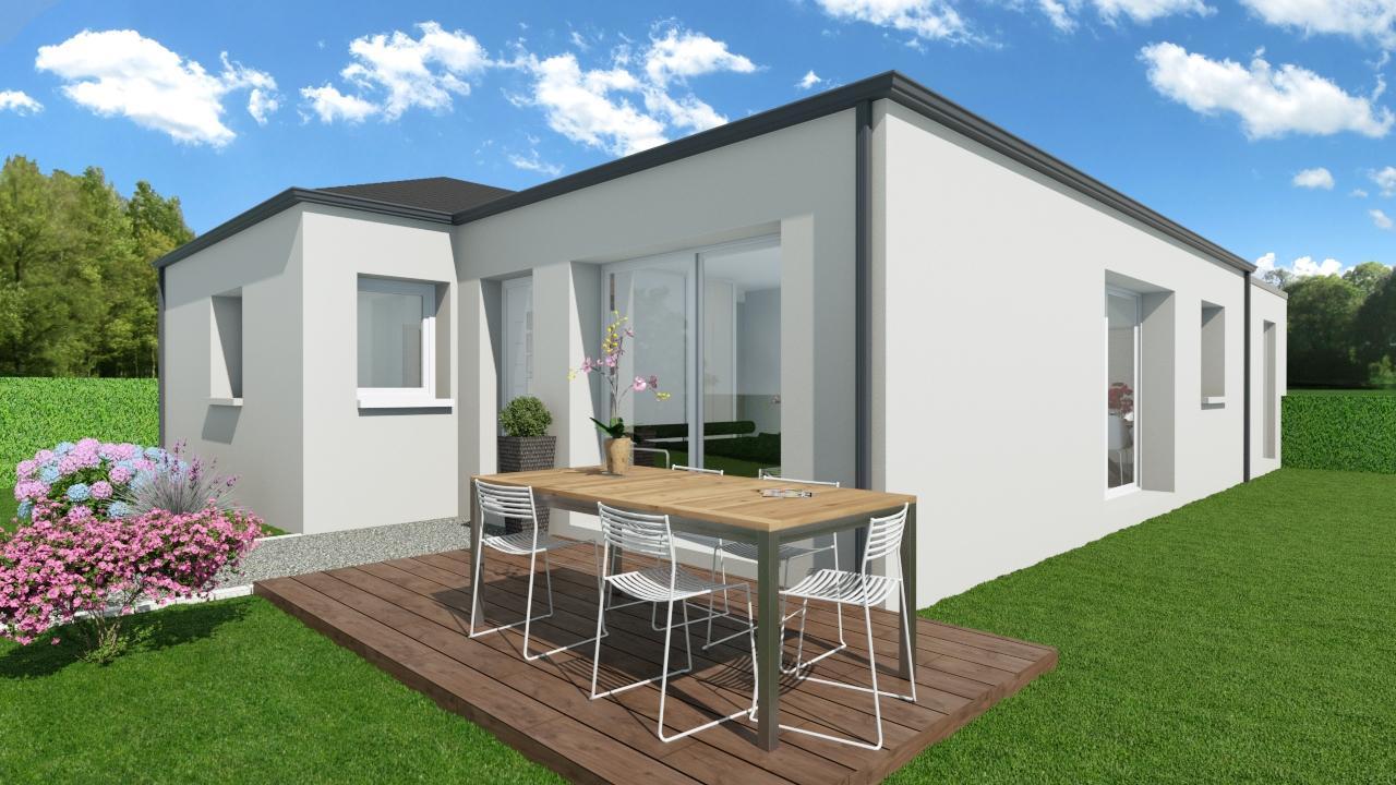 Maison 83m² + Terrain 369m² à La Roche-Blanche - Perspective sur Angle Sud-Ouest