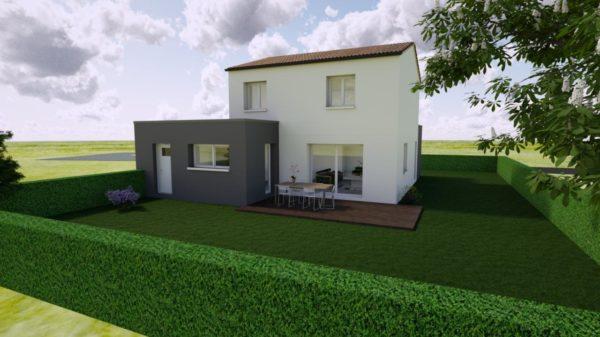Maison 114m² + Terrain 400m² à La Chapelle-Heulin - Perspective Arrière
