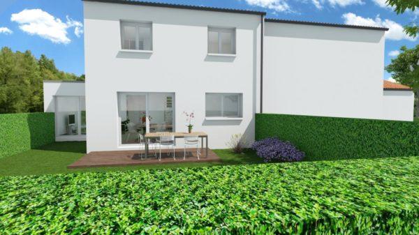 Maison 95m² + Terrain 230m² à La Chapelle-Heulin - Perspective Arrière