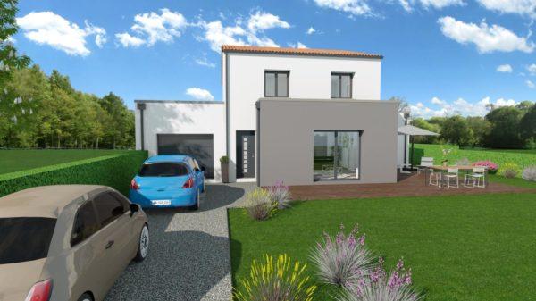 Maison 132m² + Terrain 560m² à Basse-Goulaine - Perspective Avant 1