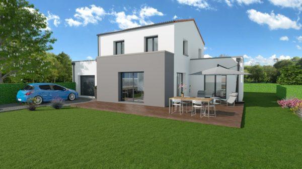 Maison 132m² + Terrain 560m² à Basse-Goulaine - Perspective Avant 2