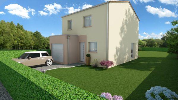Maison 95m² + Terrain 461m² au Landreau - Perspective Avant