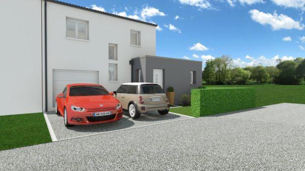 Maison 95m² + Terrain 230m² à La Chapelle-Heulin - Perspective Avant