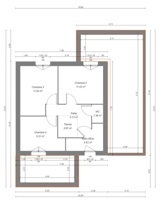 Maison 114m² + Terrain 400m² à La Chapelle-Heulin - Plan du R+1