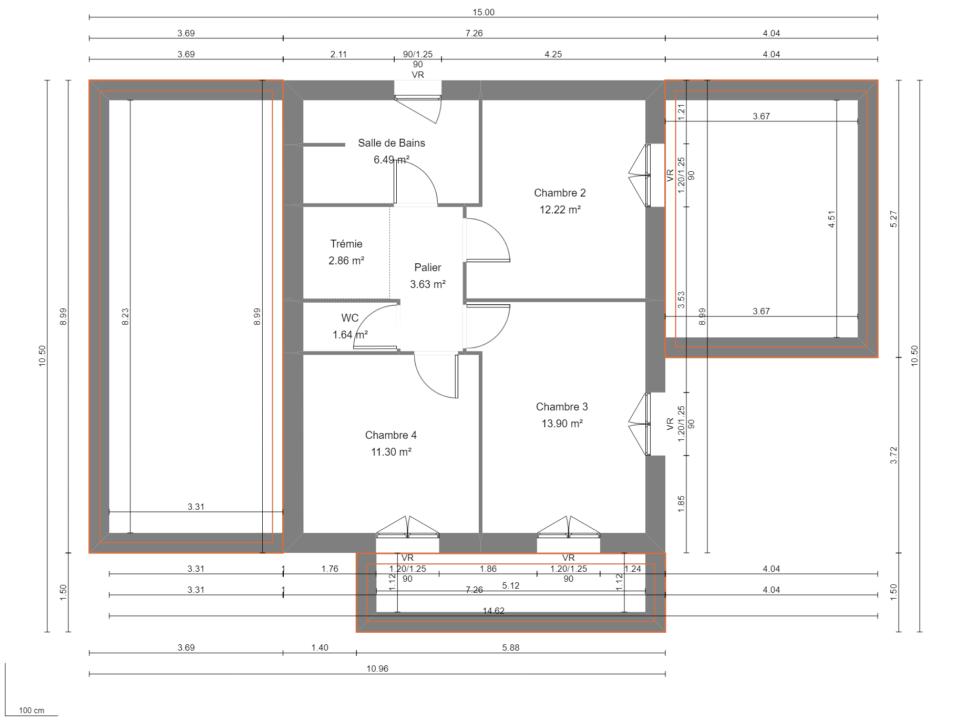 Maison 132m² + Terrain 560m² à Basse-Goulaine - Plan du R+1