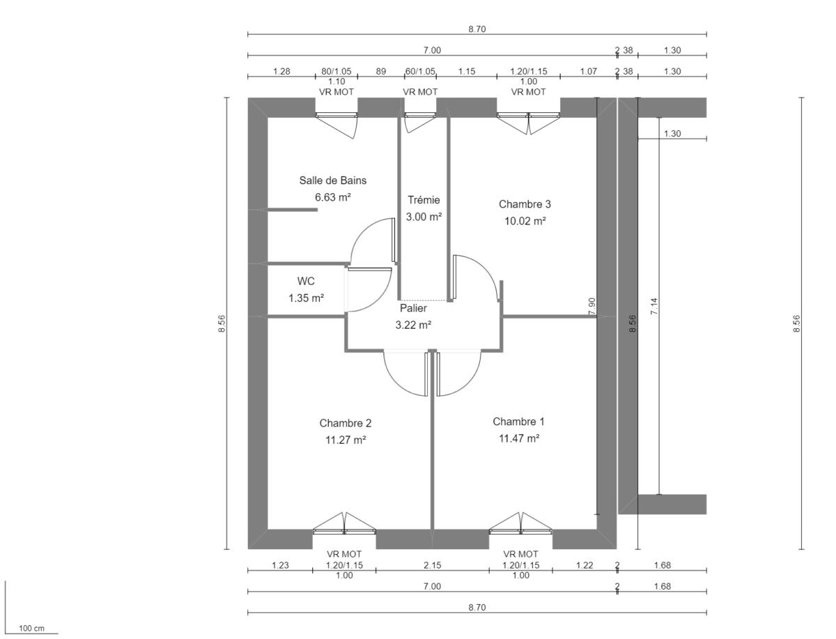 Maison 95m² + Terrain 230m² à La Chapelle-Heulin - Plan du R+1