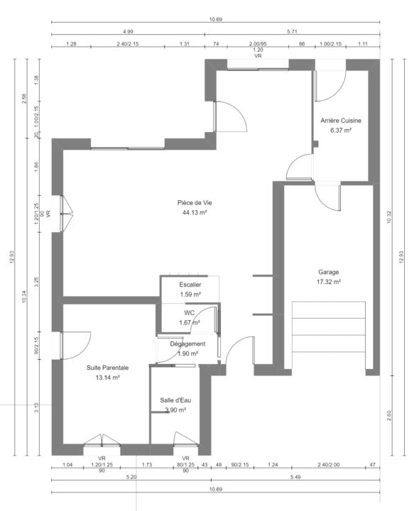 Maison 114m² + Terrain 400m² à La Chapelle-Heulin - Plan du RdC