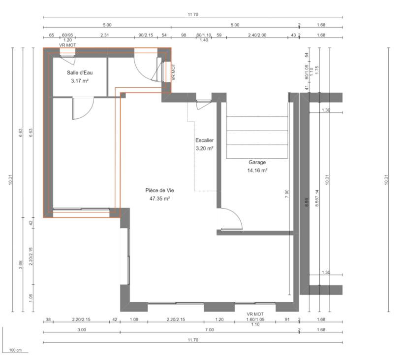 Maison 95m² + Terrain 230m² à La Chapelle-Heulin - Plan du RdC