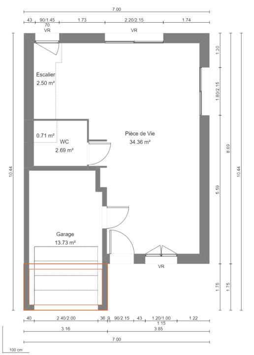 Maison 95m² + Terrain 461m² au Landreau - Plan du RdC