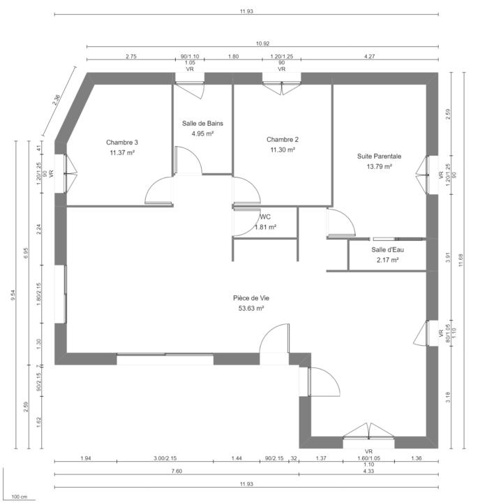 Maison 99m² + Terrain 757m² à Sainte-Luce-sur-Loire - Plan du RdC
