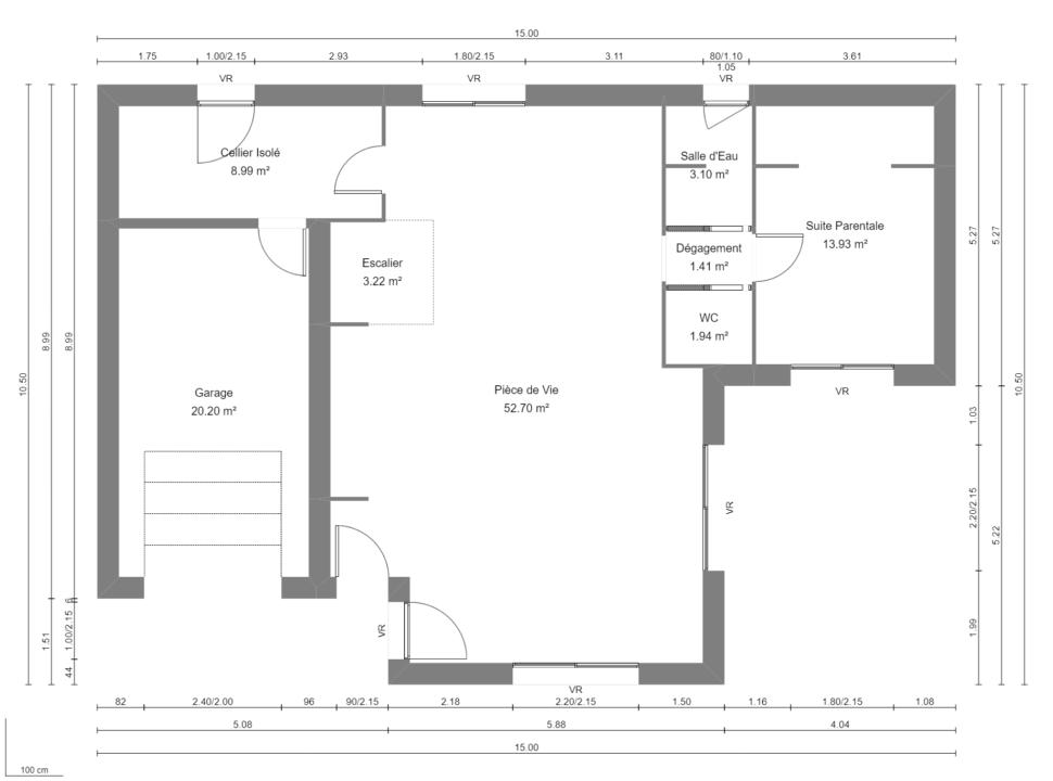 Maison 132m² + Terrain 560m² à Basse-Goulaine - Plan du RdC