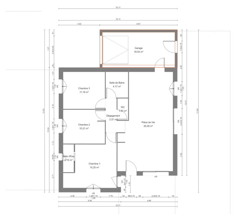 Maison 83m² + Terrain 369m² à La Roche-Blanche - Plan du RdC
