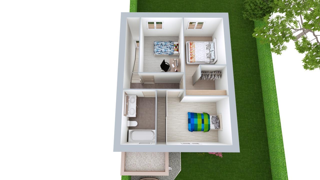Maison 95m² + Terrain 461m² au Landreau - Proposition d'Aménagement du R+1