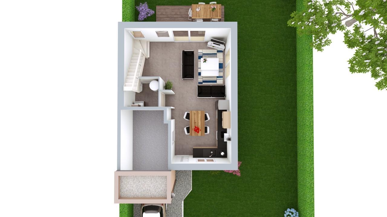 Maison 95m² + Terrain 461m² au Landreau - Proposition d'Aménagement du RdC