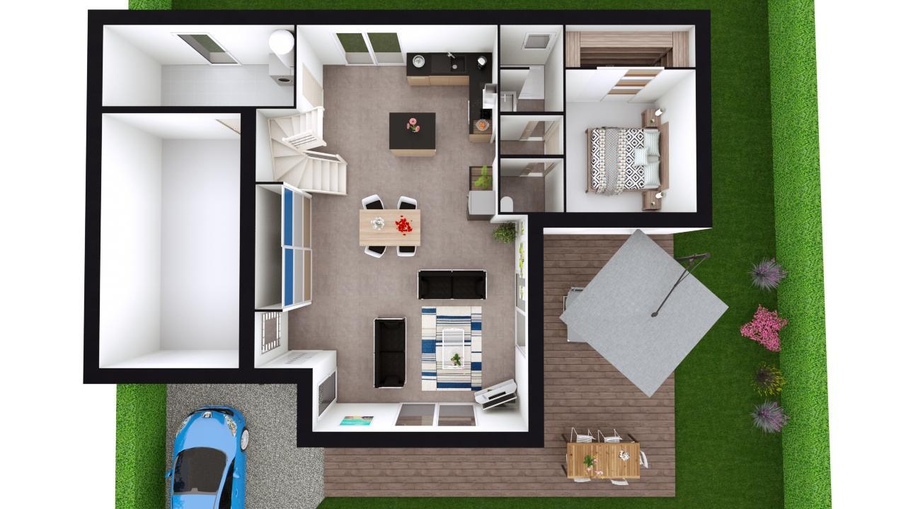 Maison 132m² + Terrain 560m² à Basse-Goulaine - Proposition d'Aménagement du RdC