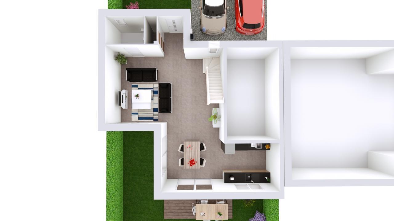 Maison 95m² + Terrain 230m² à La Chapelle-Heulin - Proposition d'Aménagement du RdC