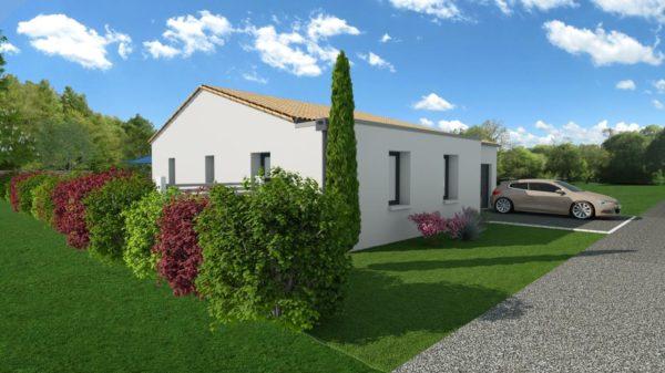 Maison 113m² + Terrain 459m² au Pallet - Perspective Avant Gauche