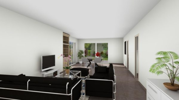Maison 113m² + Terrain 459m² au Pallet - Perspective Intérieure du Séjour