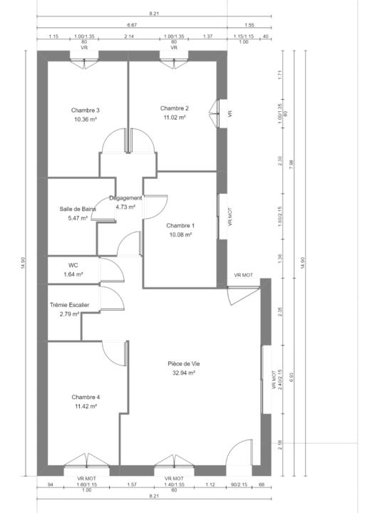 Maison 87m² + Terrain 275m² à Bouguenais - Plan du RdC