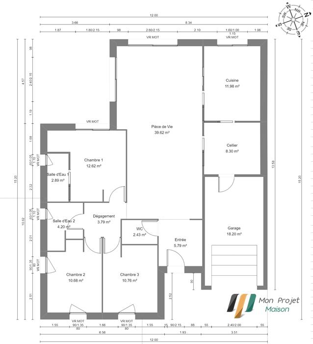 Maison 113m² + Terrain 459m² au Pallet - Plan du RdC