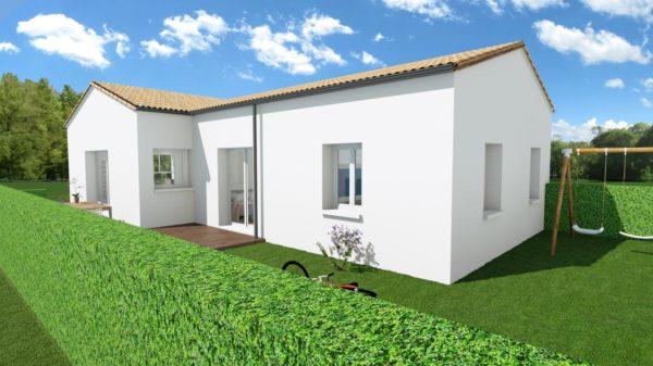 Maison 87m² + Terrain 275m² à Bouguenais - Perspective Arrière