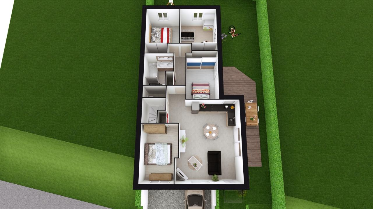 Maison 87m² + Terrain 275m² à Bouguenais - Proposition d'Aménagement