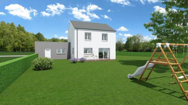 Maison 106m² + Terrain 1.000m² à Saint-Sulpice-des-Landes - Perspective Arrière