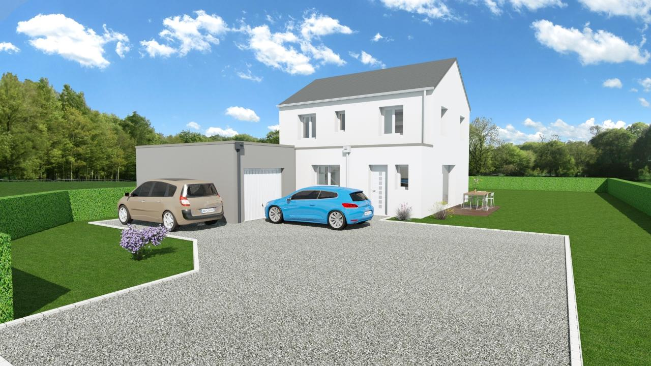 Maison 104m² + Terrain 728m² à Saint-Sulpice-des-Landes - Perspective Avant