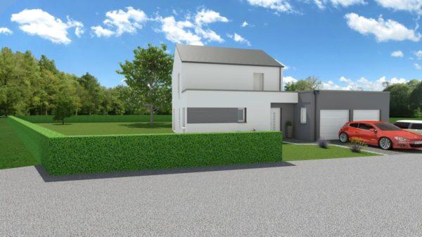 Maison 106m² + Terrain 1.000m² à Saint-Sulpice-des-Landes - Perspective Avant Droite