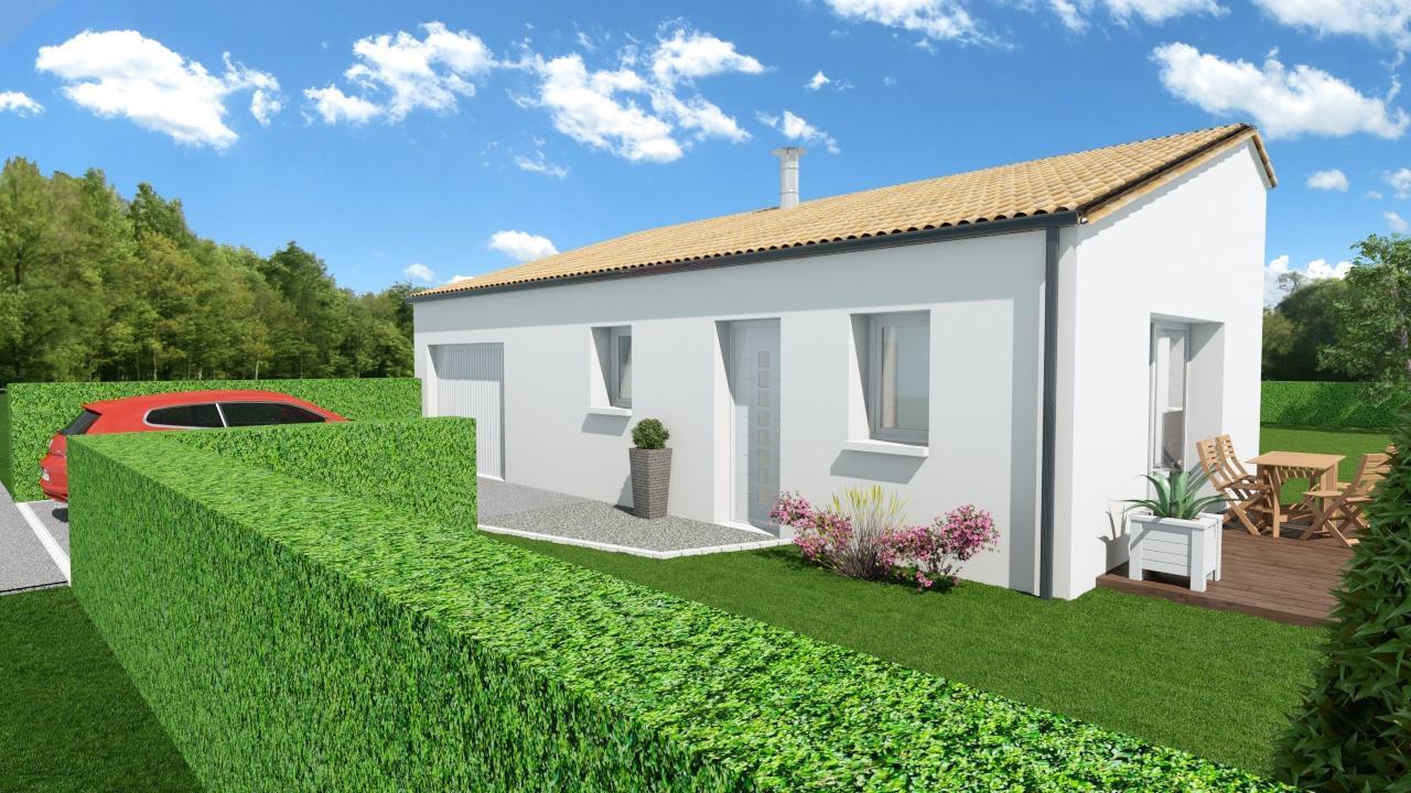 Maison 63m² + Terrain 432m² à Saint-Lumine-de-Coutais - Perspective Avant Droite