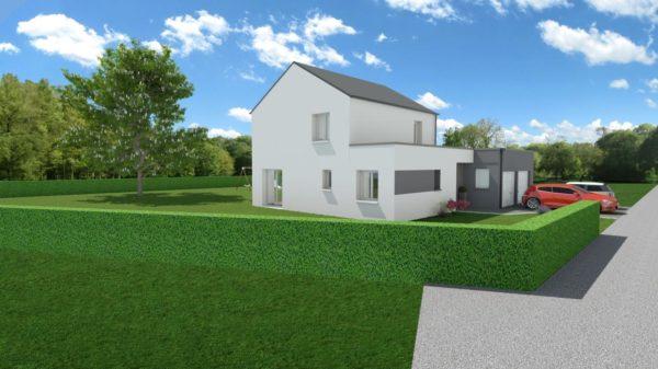 Maison 106m² + Terrain 1.000m² à Saint-Sulpice-des-Landes - Perspective Avant Gauche