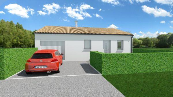 Maison 63m² + Terrain 432m² à Saint-Lumine-de-Coutais - Perspective Avant Gauche