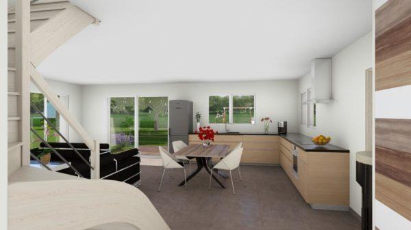 Maison 106m² + Terrain 1.000m² à Saint-Sulpice-des-Landes - Perspective Intérieure du Séjour