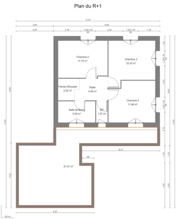 Maison 104m² + Terrain 728m² à Saint-Sulpice-des-Landes - Plan du R+1
