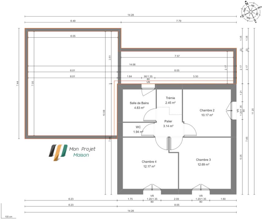 Maison 106m² + Terrain 1.000m² à Saint-Sulpice-des-Landes - Plan du R+1