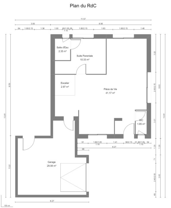 Maison 104m² + Terrain 728m² à Saint-Sulpice-des-Landes - Plan du RdC