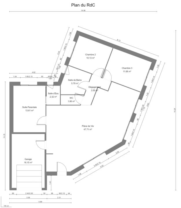 Maison 96m² + Terrain 450m² à Bouguenais - Plan du RdC