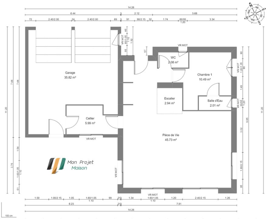 Maison 106m² + Terrain 1.000m² à Saint-Sulpice-des-Landes - Plan du RdC