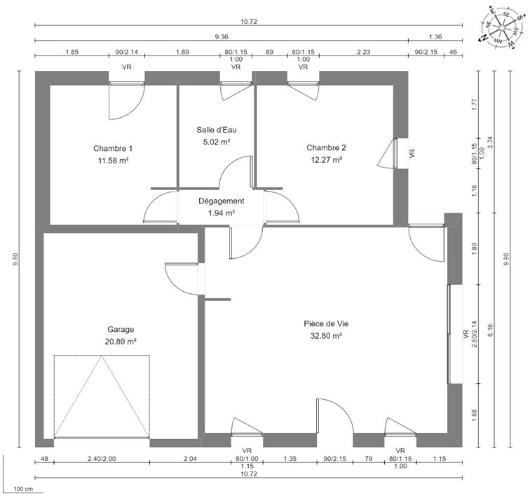 Maison 63m² + Terrain 432m² à Saint-Lumine-de-Coutais - Plan du RdC avec RdV
