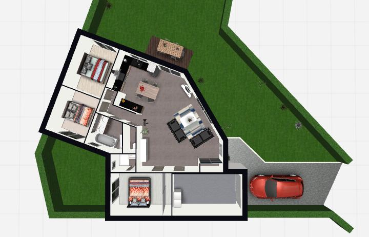 Maison 96m² + Terrain 450m² à Bouguenais - Vue de Dessus Intérieure du RdC