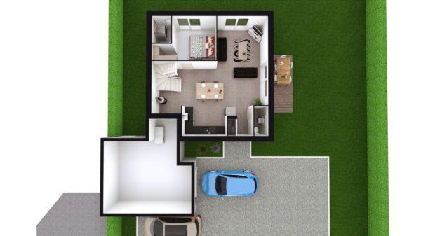 Maison 104m² + Terrain 728m² à Saint-Sulpice-des-Landes - Vue de Dessus du RdC