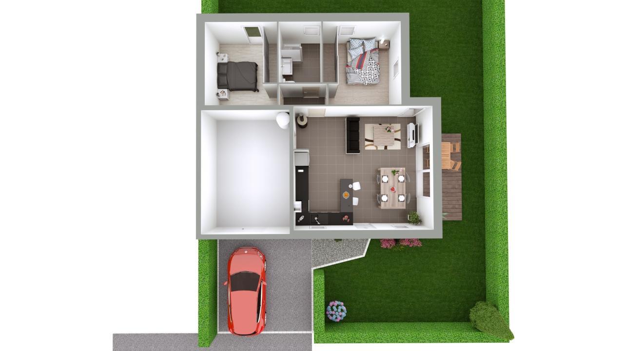 Maison 63m² + Terrain 432m² à Saint-Lumine-de-Coutais - Proposition d'Aménagements du RdC