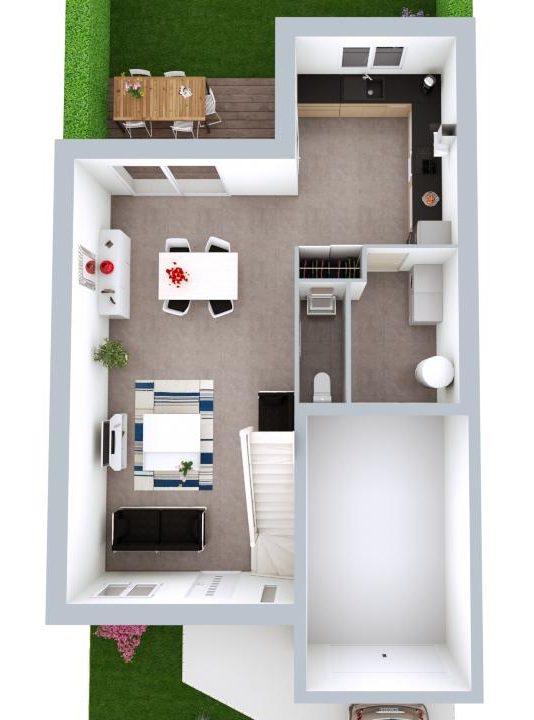 Maison 107m² + Terrain 245m² à Gorges - Proposition d'Aménagement du RdC