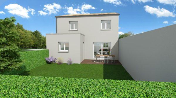 Maison 103m² + Terrain 200m² à Bouguenais - Perspective Arrière
