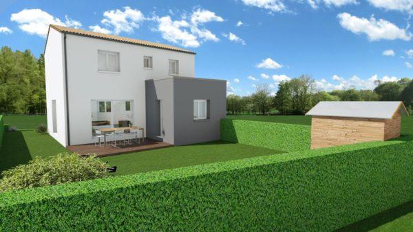 Maison 97m² + Terrain 275m² à Bouguenais - Perspective Arrière