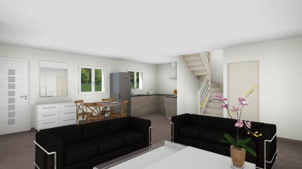 Maison 97m² + Terrain 275m² à Bouguenais - Perspective Intérieure du Séjour