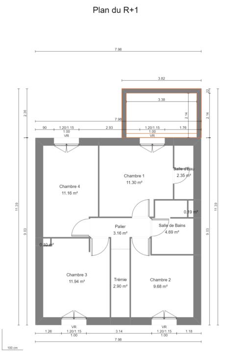 Maison 103m² + Terrain 200m² à Bouguenais - Plan du R+1