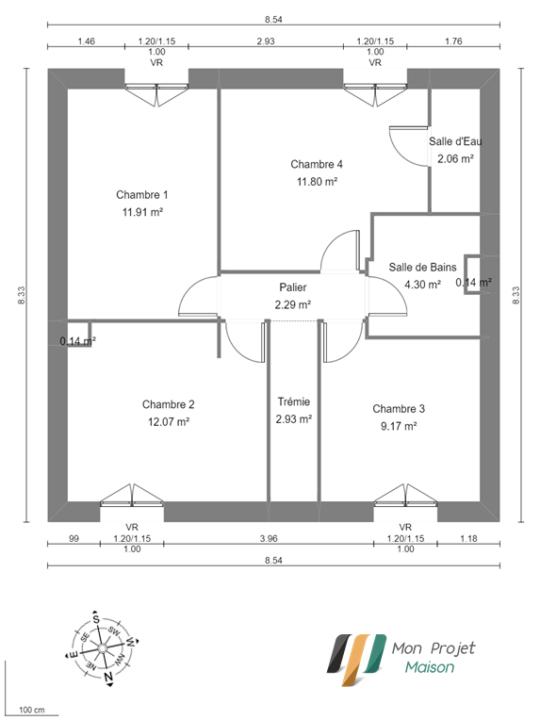Maison 100m² + Terrain 392m² à La Chevrolière - Plan du R+1