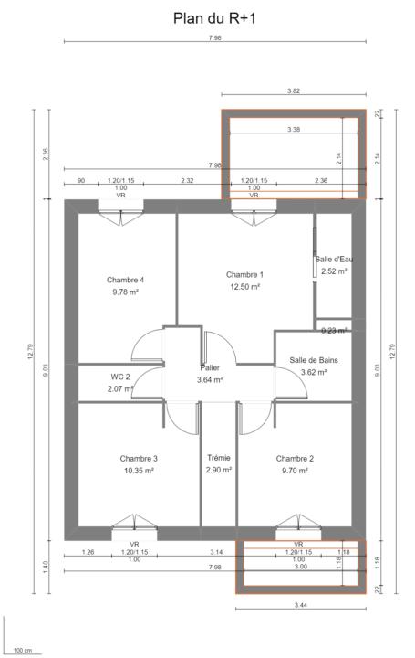 Maison 107m² + Terrain 245m² à Gorges - Plan du R+1